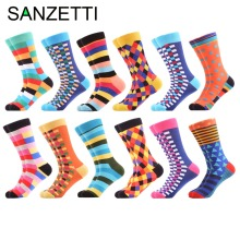 SANZETTI 12 Pairs/Lot Colorful Winter Autumn Men's Skateboard Socks Cotton Casual