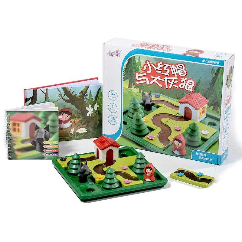 Jogos de Tabuleiro Desafio IQ inteligente Little Red Riding Hood Enigma Brinquedo Brinquedos Para As Crianças Meninos Com Inglês Solução Speelgoed 51