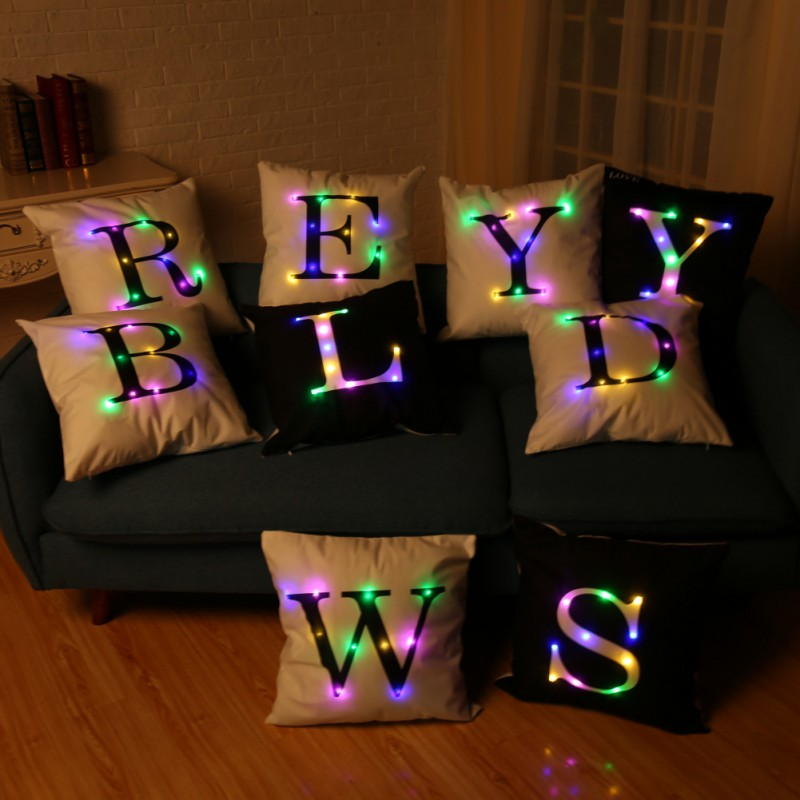Letters 26 Printing Christmas LED lights lit pillow cushions velvet pillowcase creative  ...