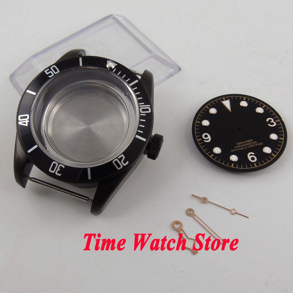 Fit ETA 2824 2836 MIYOTA 82 series movement 41mm black bezel sapphire glass Black PVD watch case +dial+hands C122 41mm pvd black steel case dial hands luminous set for eta 2824 2836 miyota 8215 movement