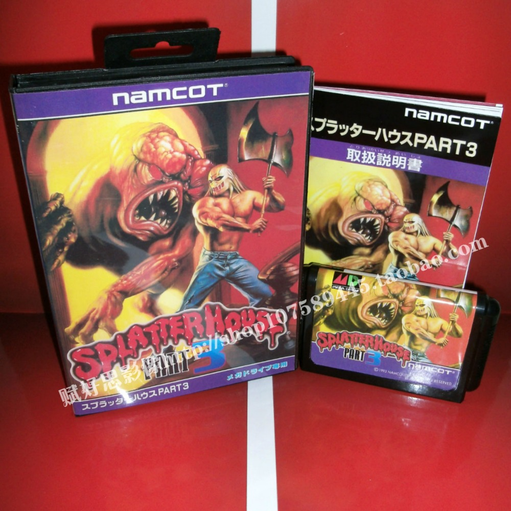 Sega MD game - Splatterhouse 3 with Box and Manual for 16 bit Sega MD game Cartridge Megadrive Genesis system image
