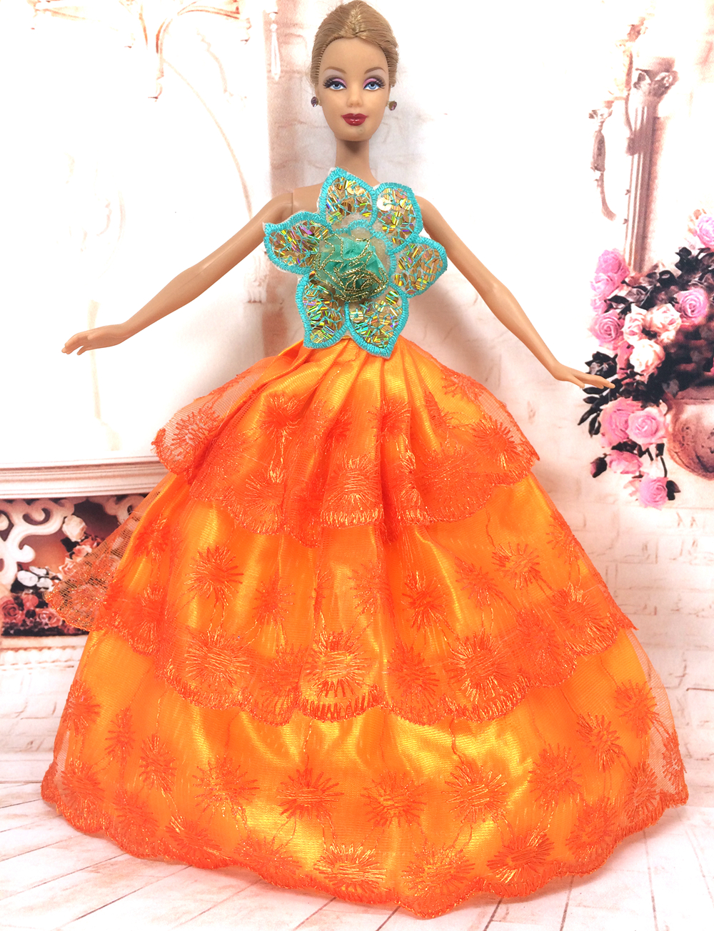 NK One Pcs Handmade Princess Marriage ceremony Costume Noble Occasion Robe For Barbie Doll Trend Design Outfit Finest Reward For Woman' Doll 017A