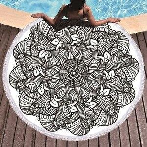 Image 4 - Drukowane kwiat Mandala duże ręczniki plażowe z mikrofibry ręcznik plażowy dorosłych czarny geometryczne ręczniki łazienka koc mata do jogi Toallas
