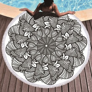 Image 4 - Printed Flower Mandala Large Beach Towels Microfiber Towel Beach Adults Black Geometric Towels Bathroom Blanket Yoga Mat Toallas