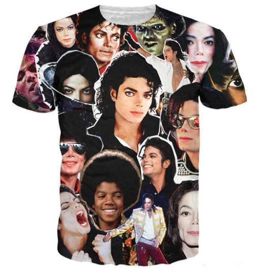 New Michael Jackson King Hip Hop Pop Music 3D Men Wome Black T-Shirt Full Size L