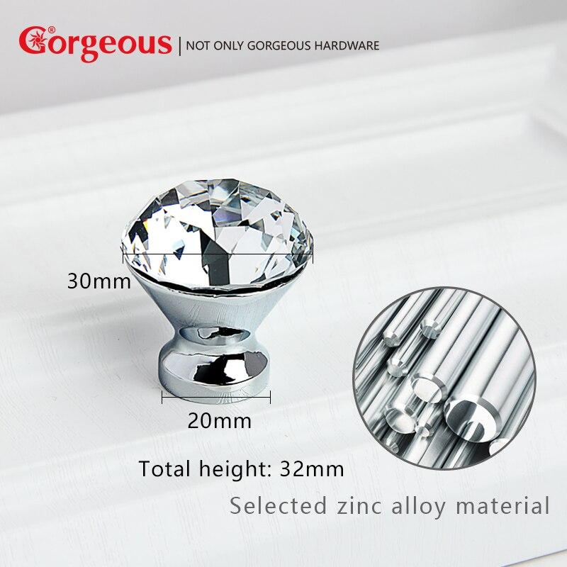 Gorgeous Zinc Alloy Diamond crystal knobs European crystal cabinet handles single hole diamond handles fashion glass door knobs cabinet knobs and handles crystal diamond glass 30