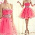 Strapless Pink Mini Homecoming Dress Crystal Party Dress Club Dresses Pink Homecoming Gowns Cheap  2016  graduation dress Z161