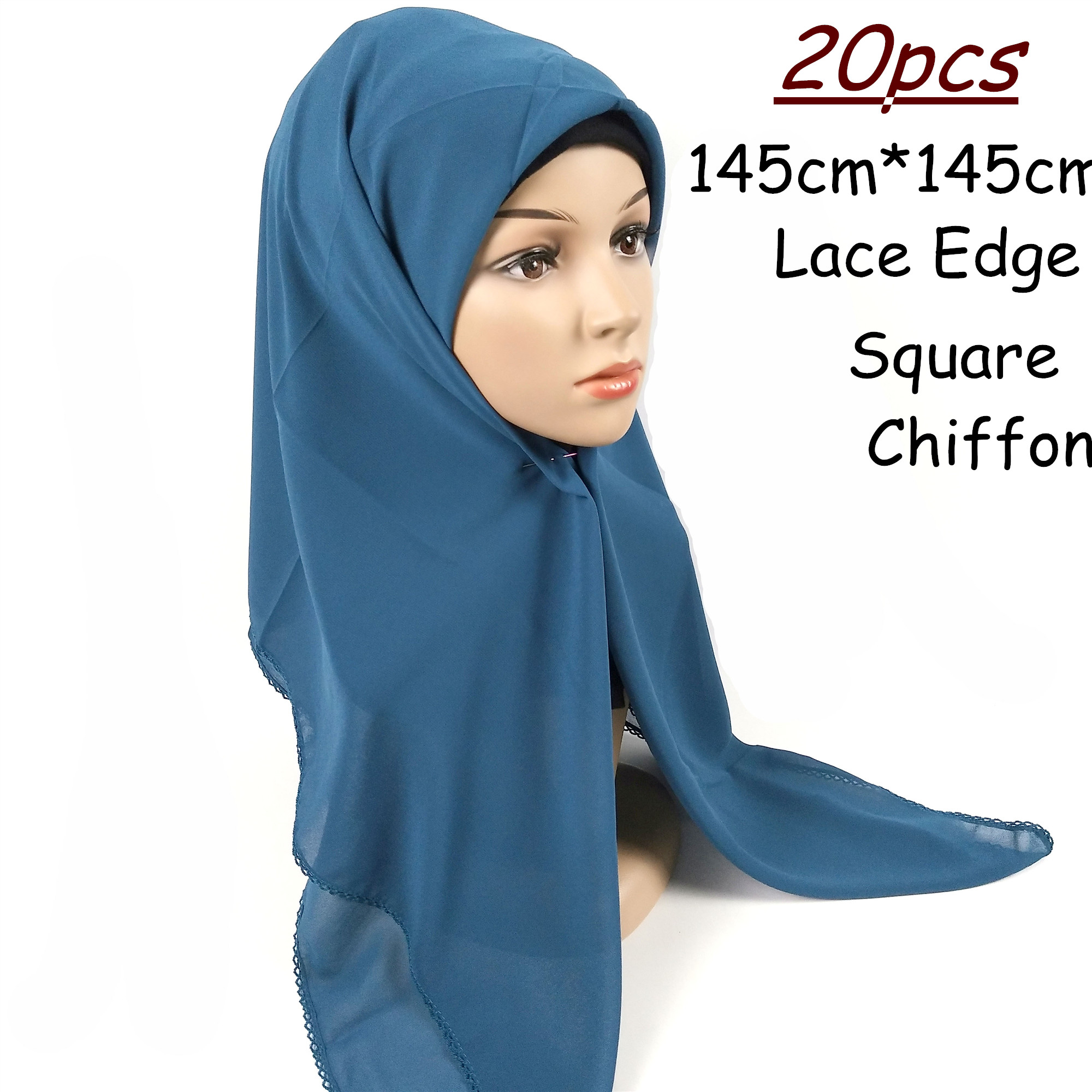 H11 20pcs High quality square chiffon hijab with lace edge 145 *145cm   wrap   shawls women   scarves     scarf     wrap   headband
