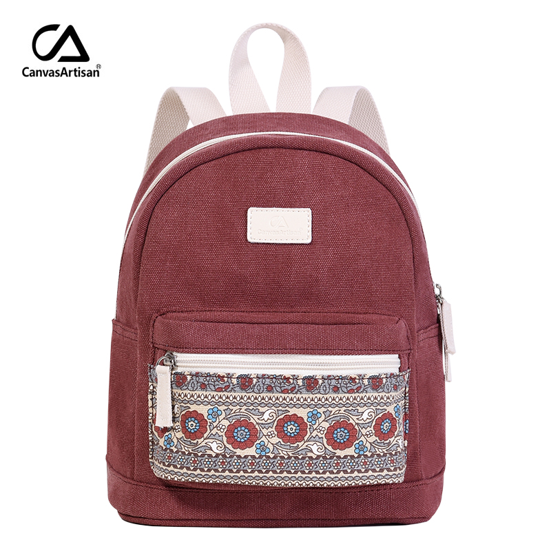 Women's Canvas Backpack Retro Style Daily Travel Small Backpacks Bag Floral Daypack Bags