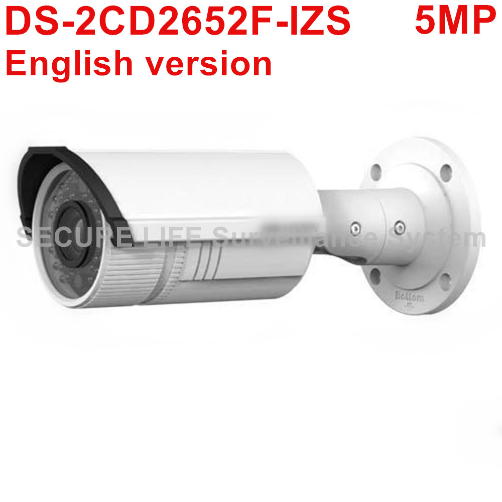 DHL Free shipping English version DS-2CD2652F-IZS 5MP bullet ip security camera POE with mortorized varifocal lens 2.8-12mm bullet camera tube camera headset holder with varied size in diameter