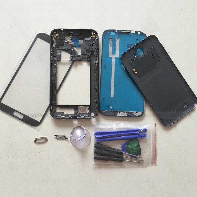 Caso telefone original quadro moldura tampa da bateria completa habitação corpo para samsung galaxy note 2 n7100 n7105 substituição