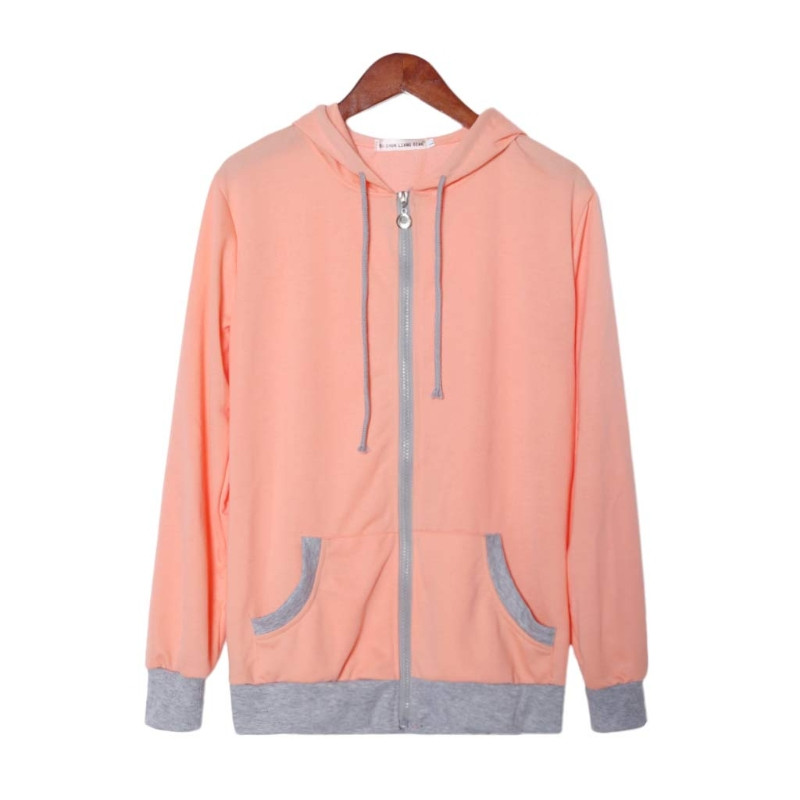 New Fashion Womens Long Sleeve Zipper Hoody Sweatshirt Coat Pull Over O-neck Patchwork Cotton Polyester Cloth 3color S/M/L/XL