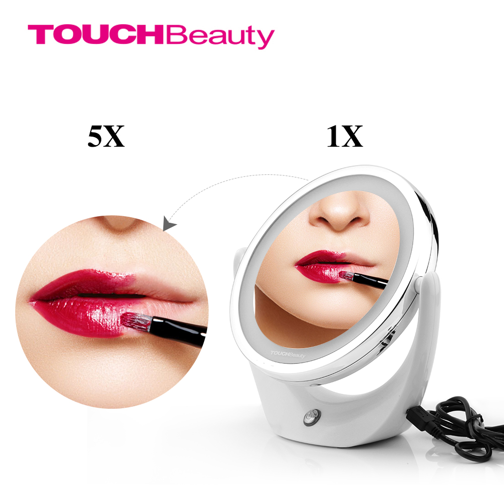 TOUCHBeauty Led Light Cosmetic Mirror Doble cara 1X y 5X, Rotary 360, USB recargable, espejo de maquillaje TB-1276