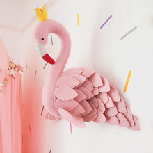 Handmade Pink Crown Swan Wall Decor Stuffed Doll Toys 3D Animal Head Toy Wall Hanging Flamingo Decoration Baby Room Wall Artwork(China)