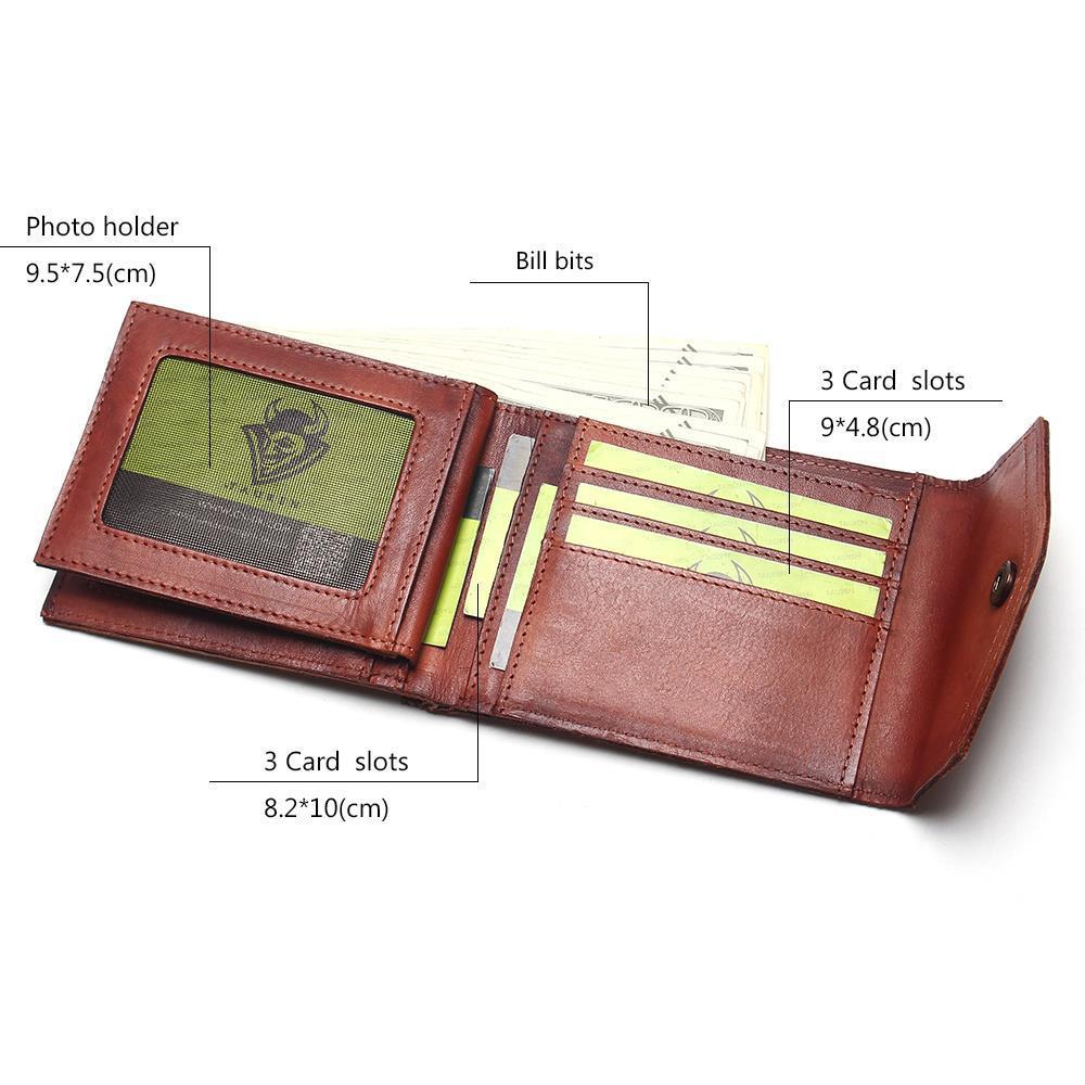 Image 5 - Винтажный Мужской кошелек TAUREN, из 100% натуральной кожи, с  застежкой, в ретро стиле, короткий, тусклый, красный, меняющий Цвет  Кошелек для монетwallet shortwallet menhasp wallet