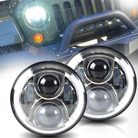 Chrome 7 Inch Round Projector Daymaker Led Headlight Hi Lo Beam DRL For Lada 4x4 Urban