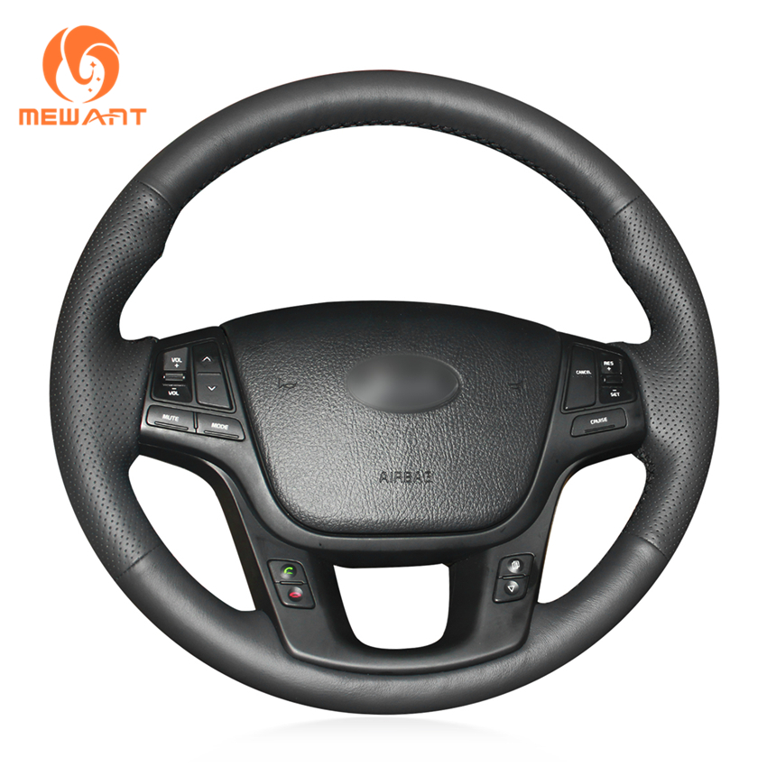 цена MEWANT Black Artificial Leather Car Steering Wheel Cover for Kia Sorento 2009-2014 Kia Cadenza K7 2011-2015
