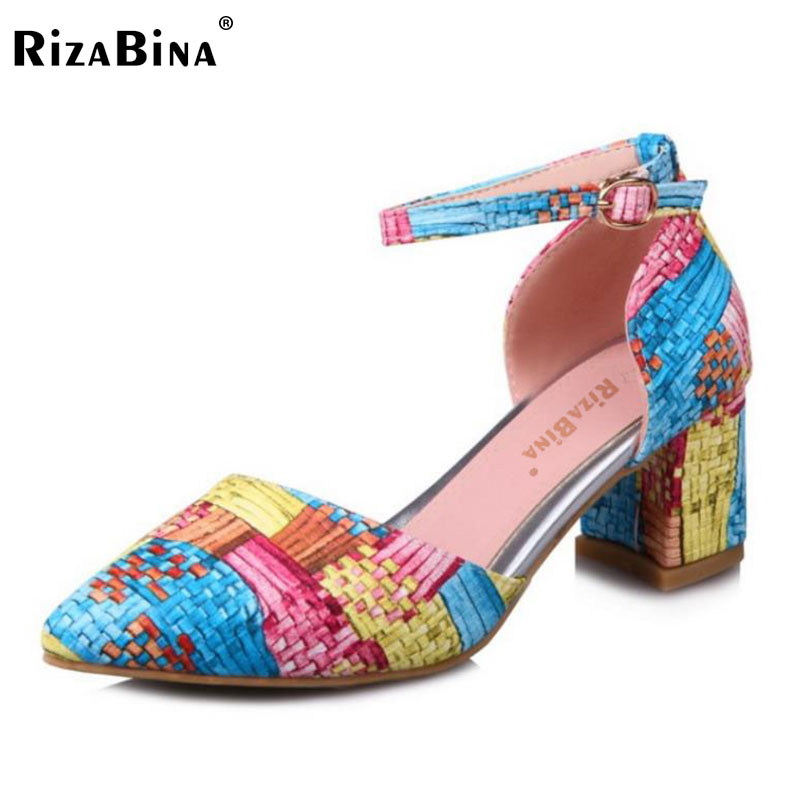 RizaBina Size 33-43 Sexy Women High Heel Sandals Weave Ankle Strap Pointed Toe Thick Heel Sandals Summer Shoes Vacation Footwear meotina shoes women sandals summer sexy stiletto high heel sandals open toe ankle strap party pumps lady shoes purple size 34 43