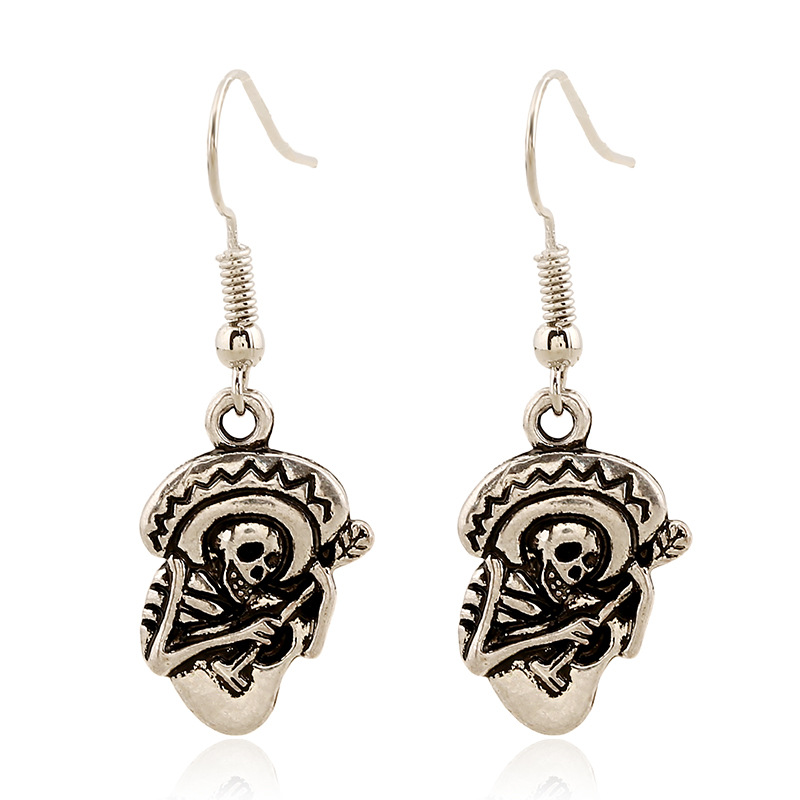 1 Pair Women's Skull Guitar Silvery Plated Ear Dangle Earring pendientes grandes mujer etnico Charm Beauty Jewelry
