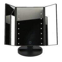 Xách tay Ba Gấp Bảng Đèn LED Sáng Gương Trang Điểm Mỹ Phẩm Gương Điều Chỉnh Tabletop Countertop Ánh Sáng Gương Hot