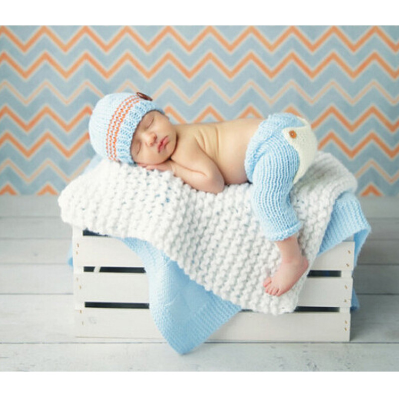 2016 Newborn baby crochet outfits accessories blue hat and pants sets baby beanie clothes newborn photography props