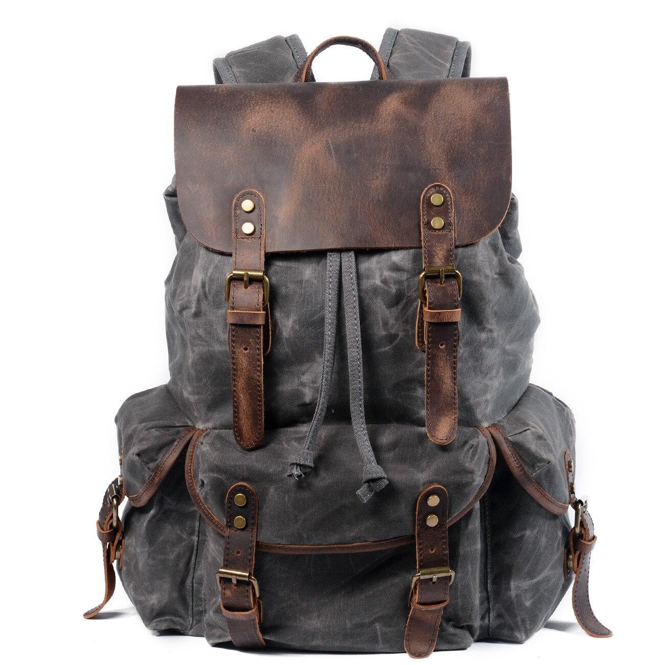 Toile imperméable à l'huile de cire et sac à dos en cuir véritable hommes voyage Vintage sac à dos à cordon grande capacité chaîne pochette d'ordinateur - 6