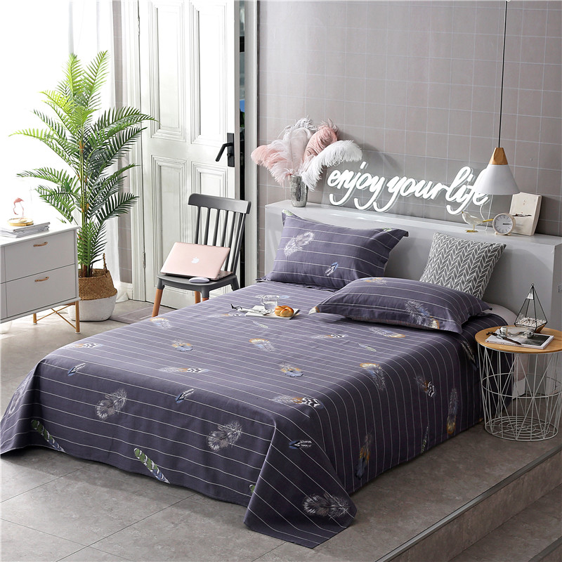 Cartoon Purple Feather Pattern 100% Cotton Bed Sheet Queen ... - photo#23