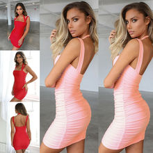 Summer Dress 2019 Women Holiday Sleeveless Sexy Backless Bodycon Dress Solid Color Strappy Slim Dresses Vestidos цена 2017