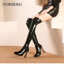 Shoes Women Boots Black Over the Knee Boots Sexy Female Autumn Winter lady Thigh High Boots Pu fabric boots 2018 new shoes women boots black over the knee boots sexy female autumn winter lady elastic mesh thigh high boots size 35 39