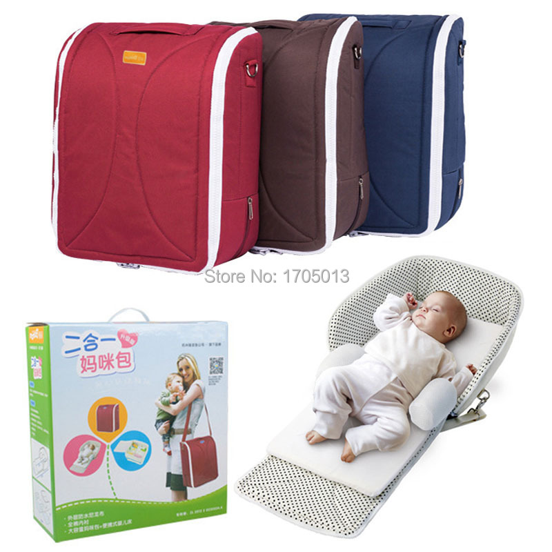 ФОТО New Design multi-function mummy bags travel baby cot foldable travel couch portable bassinet 2 in 1 diaper bags