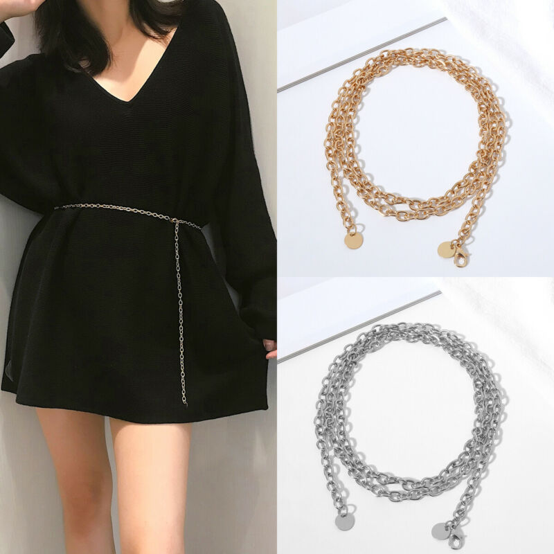 Women Retro Metal Waist Chain   Belt   Dress Waistband Body Chain   Belts   Fashion