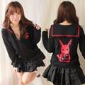 Японский Harajuku длинным рукавом черный / розовый кролик печатных сейлор толстовка с застежкой-молнией для девочки