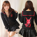 Japanese Harajuku Long Sleeve Black/Pink Rabbit Printed Sailor Sweatshirt with Zipper for Girl
