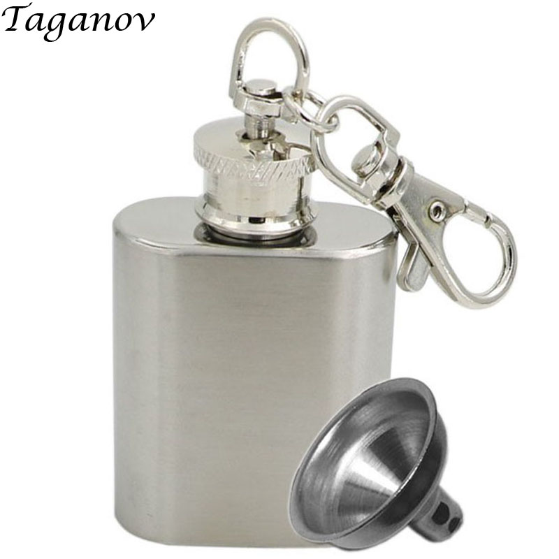 1 OZ Stainless Steel hip flaskes Fashion Mini Bottles Silver Wine Flagon with Keychain Funnel whiskey whisky flask for alcohol