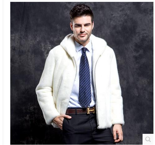 White S/3Xl Men Hooded Male Winter Autumn Fur Jackets Casual Faux Mink Fur Male Overcoats Large Size Casual Outwear Tops J1648-8
