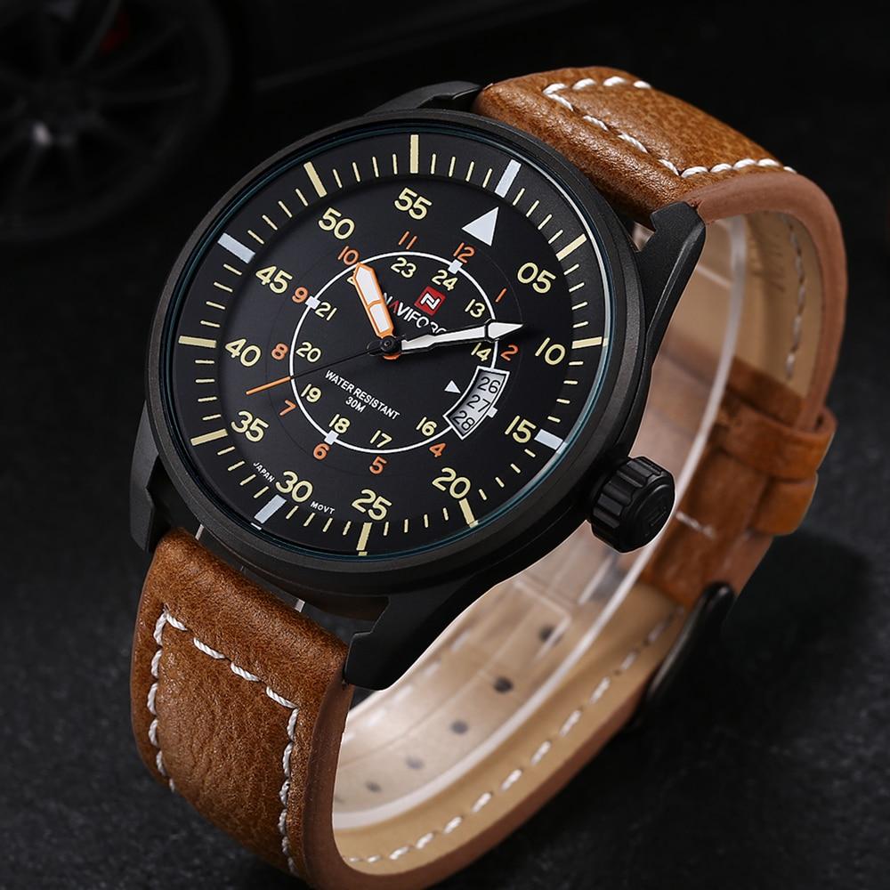 Watches font b men b font NAVIFORCE luxury brand Quartz Clock dive 30M Casual Army Military
