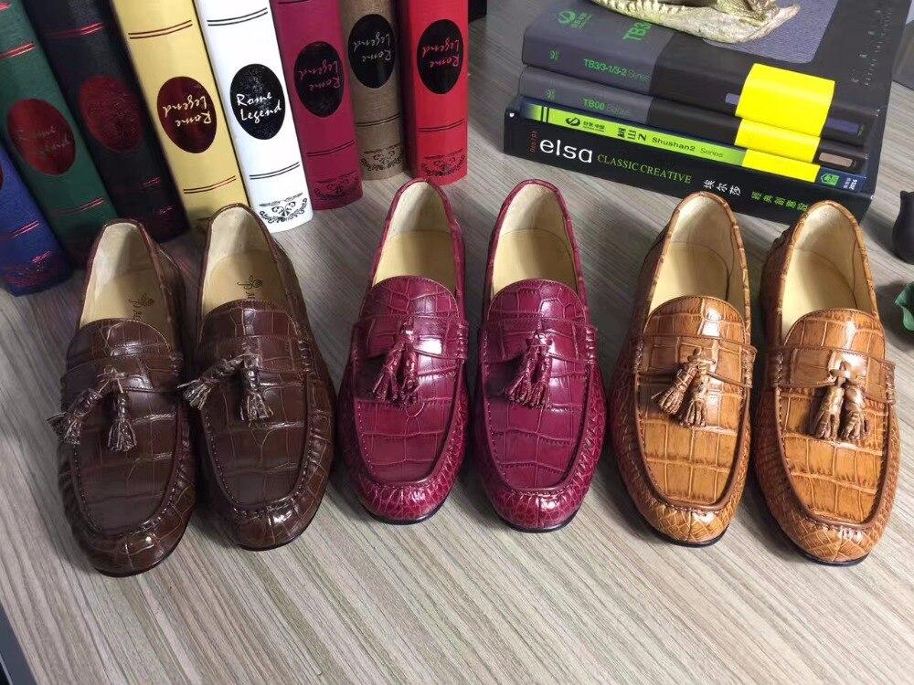 2018 Genuine real genuine crocodil skin men shoe, top quality alligator skin handmade men shoe wine red brown color
