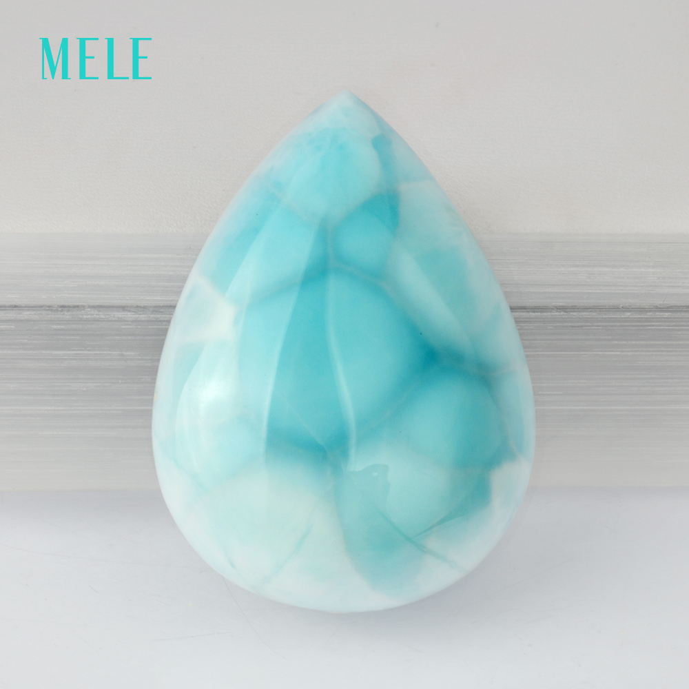 Natural blue larimar loose gemstone, pears 28mm*39mm, 11.65 gram, top quality larimar, b ...