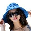 Moda Protection Face sombrero de sol playa sombreros de verano para mujeres plegable Anti ultravioleta grande visera ajustable del sombrero de Fedora Floppy Cap W1
