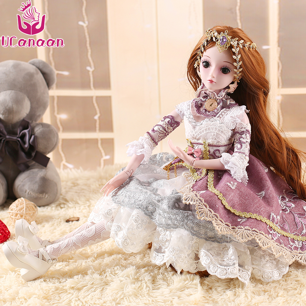 UCanaan Limited Collection BJD Doll 60CM 19 Ball Joints SD Dolls With Outfit Elegant Dress Shoes Wigs Free Makeup Girls DIY Toys 1pcs bjd sd doll wigs accessories 15cm
