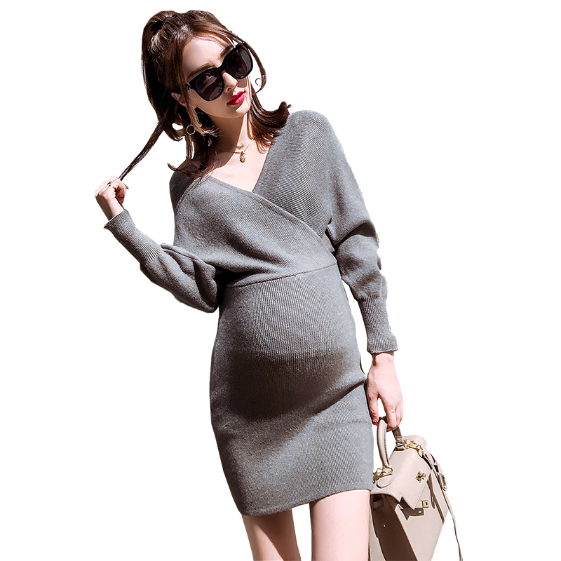maternity clothes new 2017 autumn and winter V-Neck Full-Sleeve dress new trendy style Sweater Fashion Clothes Pregnancy dress цена 2017