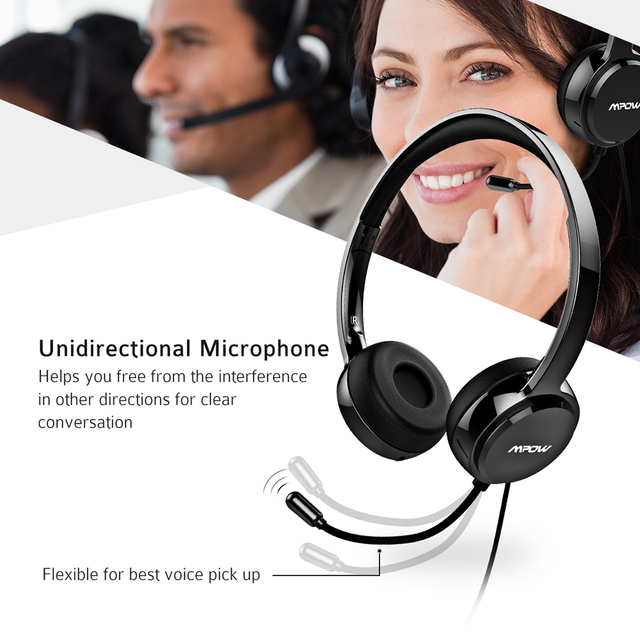 PA071 Wired Headsets Crystal Clear Sound With Mic&In-line Control Wired Headphone for Mac PC Computer Office Skype Calls 2