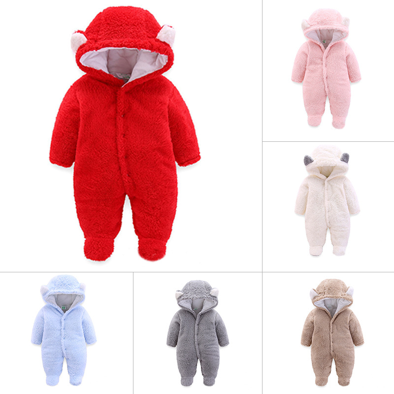 2019 Newborn Baby Winter Hoodie Clothes Infant Baby Girls Boy Warm Climbing Outwear   Rompers   thickening fluff Jumpsuit 6 colors