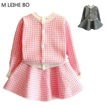 Girls Dress 2018 Spring New Cotton Pleated Autumn And Winter Knitted Baby Cardigan Foreign Trade Children's Dresses Kids 2PCS(China)