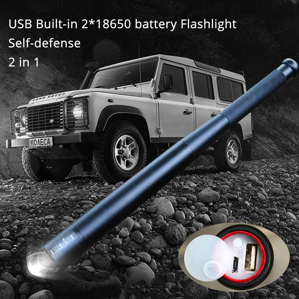 USB charger Baseball Bat LED Flashlight CREE XML-T6 Self Defense 8000LM 5modes Flash light for camping Built-in 2*18650 battery