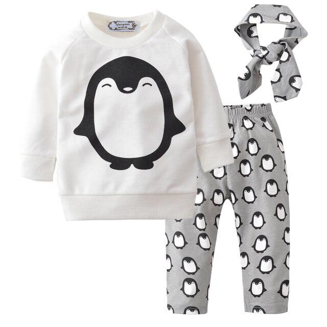 8a80547d1 Newborn Baby Boy Clothing 2018 Autumn Warm Cute Cartoon Penguin Tops ...