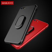 MAKAVO Magnetic Car Phone Holder 360 Rotation Soft Silicone Full Protction Cover Case For IPhone 6