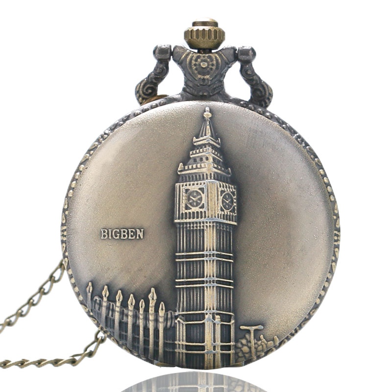 Antiqe Vintage Bronze Big Ben Clock Designer Pocket Watch Casual Round Quartz Fob Time Unisex Gift With Necklace Chain