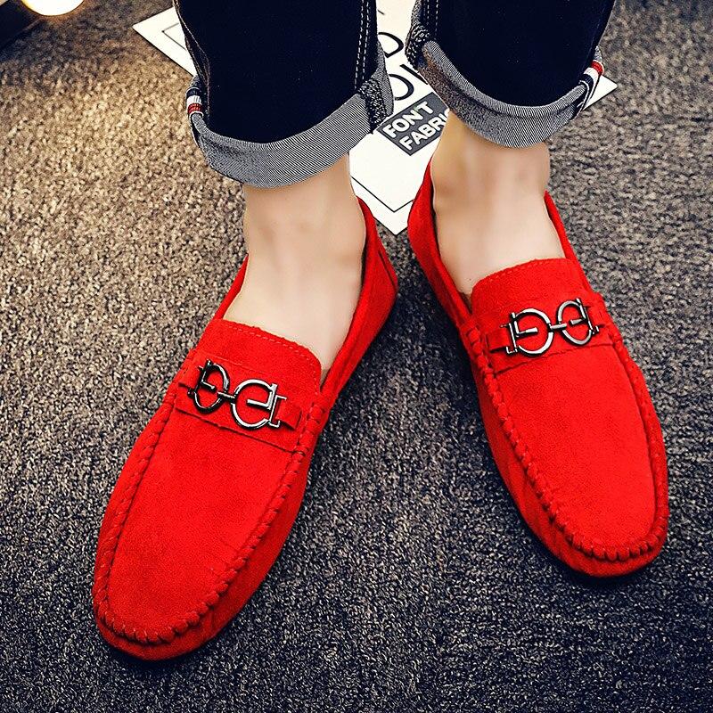 Daim gray Mode En Mocassins Rouge Hot red Marche Pas Hommes Black Shoes Cher Lumière Vente Cnfiia Shoes 2018 Chaussures Shoes Noir Gris Nouveau Hq6tIf