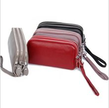 Long Women Wallet Genuine Leather 3 layers Zipper Wristlet Bag Big Capacity Lady Clutch Coin Purse Mobile phone bag 4 colours